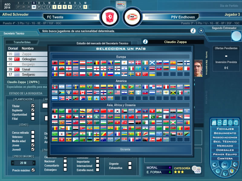 Selección de país en Secretario Técnico